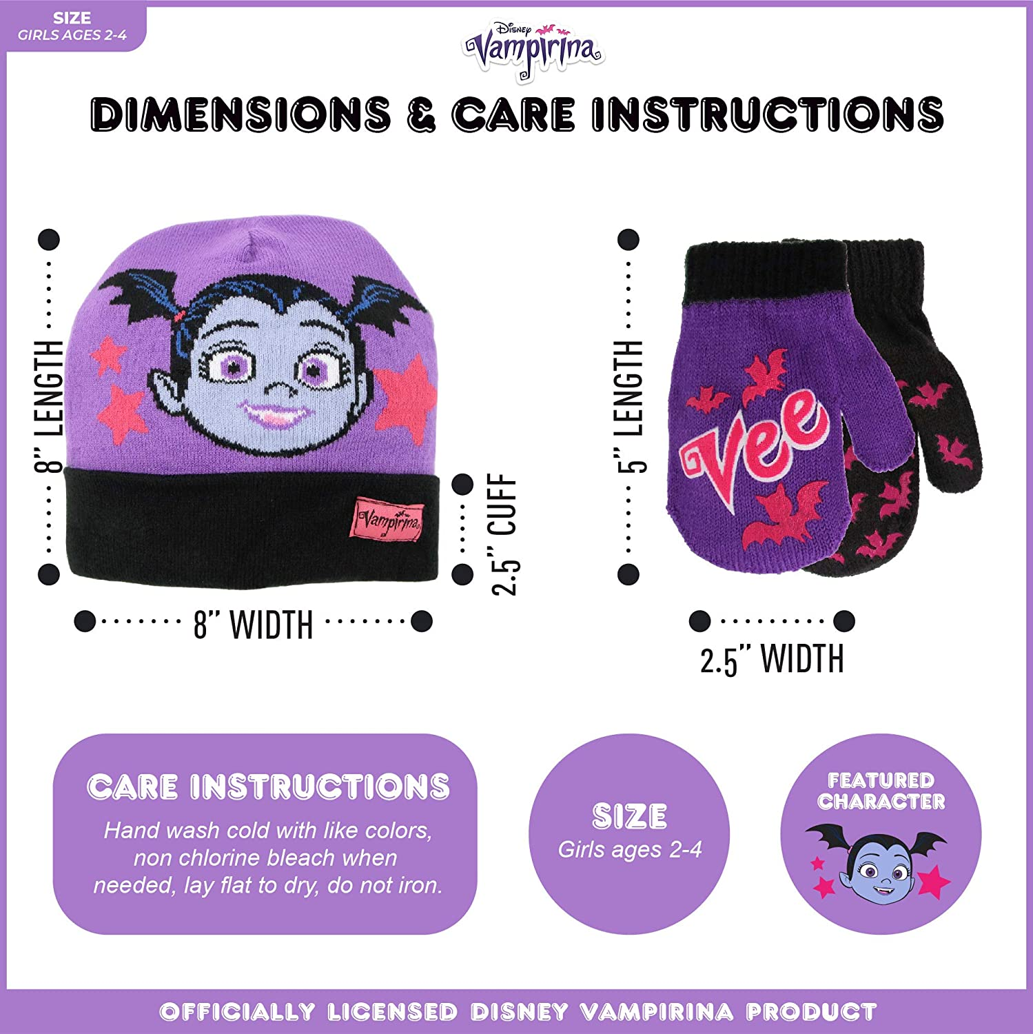 Toddler//Little Girl Disney Girls Minnie Mouse and Vampirina Winter Hat and 2 Pair Mitten or Glove Set