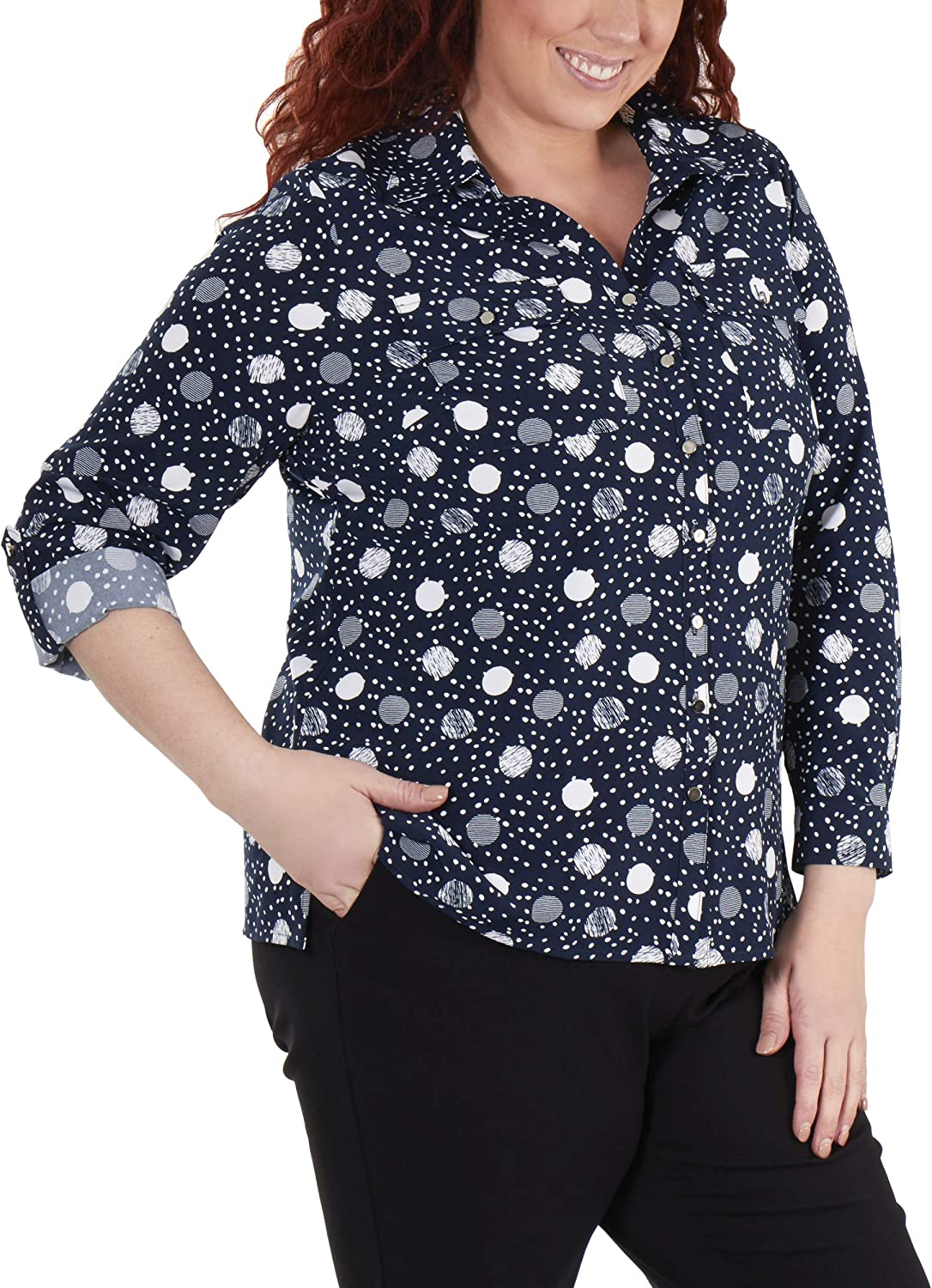 NY Collection Plus Size 3/4 Roll Tab Sleeve Button Down Blouse