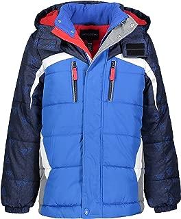 London Fog Boys' Little Active Puffer Jacket Winter Coat, Blue Solid Hood, 4