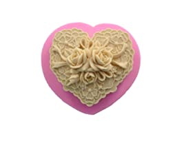 WYD 3D Heart Flower Silicone Mould for Fondant Soap Making Mold Cake Mold Decorating