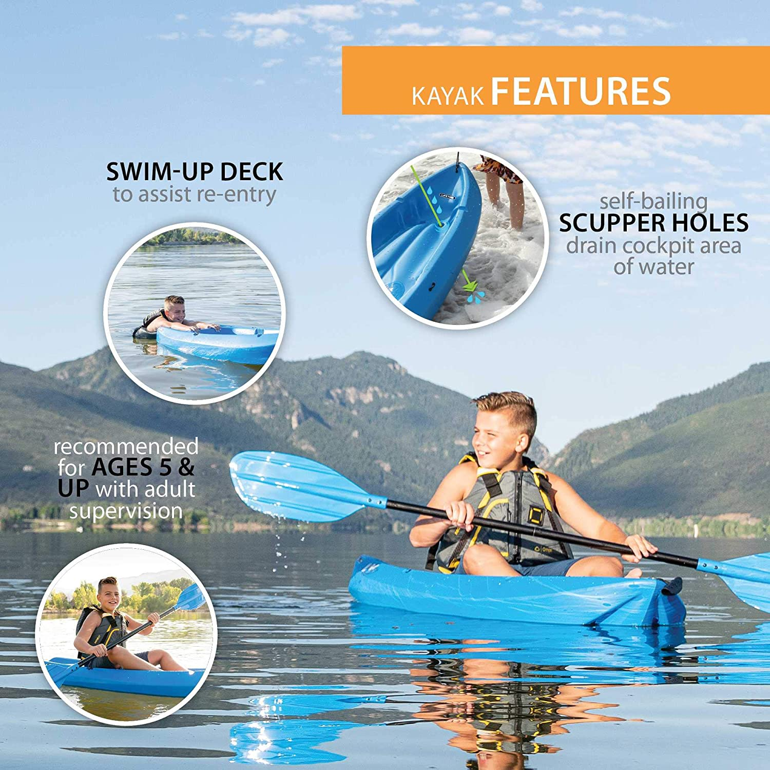 Paddle Included Blue Lifetime Youth Wave Kayak 6