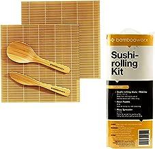 BambooWorx Sushi Making Kit – Includes 2 Sushi Rolling Mats, Rice Paddle, Rice Spreader |100% Bamboo Sushi Mats and Utensils.