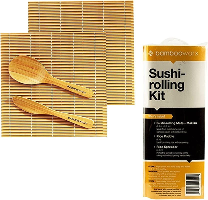 BAMBOOWORX Sushi Making Kit Includes 2 Sushi Rolling Mats Rice Paddle Rice Spreader 100 Bamboo Sushi Mats And Utensils