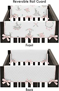 Sweet Jojo Designs Blush Pink Grey Woodland Boho Dream Catcher Arrow Girl Side Crib Rail Guards Baby Teething Cover Protector Wrap for Gray Bunny Floral Collection - Set of 2 - Watercolor Rose Flower
