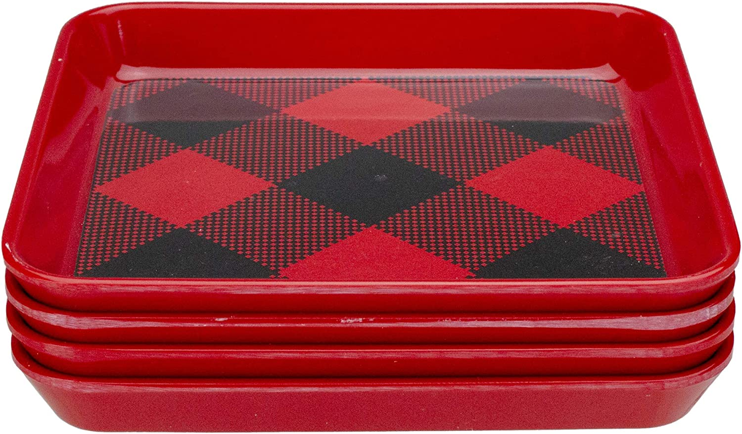 Set of 4 Red Ranking TOP15 Buffalo Plaid Max 81% OFF But Bread Christmas and Indoor Square