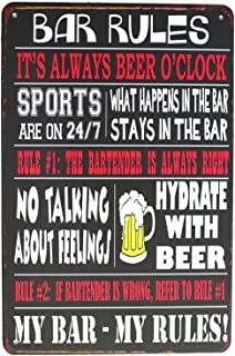 SUMIK Bar Rules It's Always Beer O'Clock, Metal Tin Sign, Vintage Poster Plaque Bar Kitchen Home Wall Decor