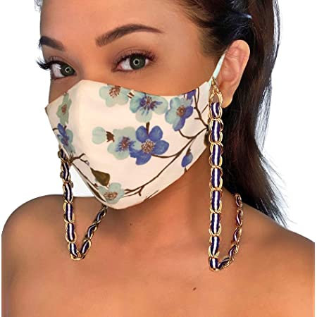 Dangling Bee Mask Holder Aqua Clip On Mask Carrier Stainless Steel Chain Mask Necklace NEW Czech Glass Floral
