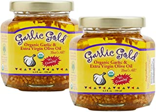 Garlic Gold Organic Garlic Granules in Extra Virgin Olive Oil, 6.4 oz Pack of 2