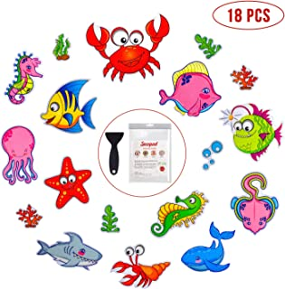 Non Slip Bathtub Stickers, 18 PCS Sea Adhesive Kids Anti Slip Decal Threads for Shower and Bath Tub with Premium Scraper
