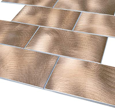 Rotary Abrased 15in x 12in 1.6in Thick 1pc//Pack, RT Copper Matte 8.0 Decopsu Peel and Stick Metal Subway Tile Backsplash for Kitchen Bathroom Wall Accent