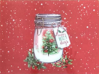 Holiday Christmas Glass Cutting Board: Decorative Mason Jar, Snow and Tree Design,