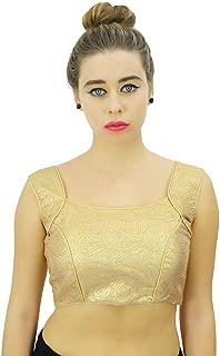 Phagun Brocade Silk Designer Party Wear Beige Blouse Crop Top Choli