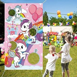 لافتة ألعاب يونيكورن إرم، لعبة كورنهول لحفلات يونيكورن اللطيفة مع 4 أكياس بين للأطفال والبنات وأعياد الميلاد، وألعاب الفنا...