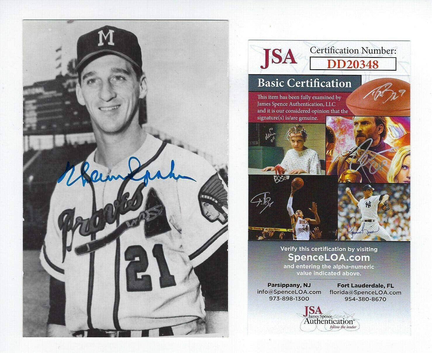 BRAVES Warren Spahn signed vintage Price reduction Autogra postcard COA JSA Cheap AUTO