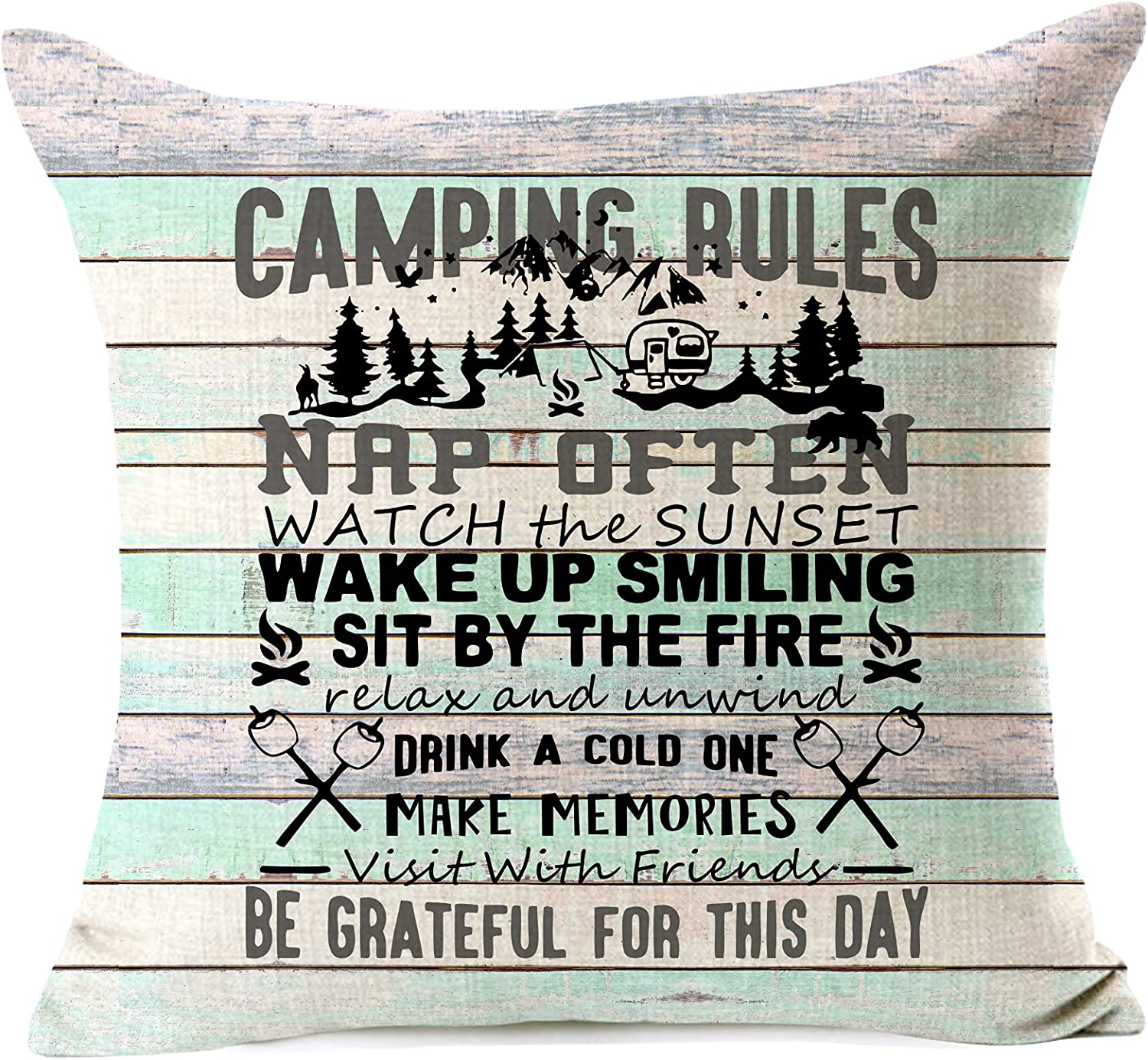 963RW Camping Rules Make Memories Family and with Friends Enjoy 2021 Easy-to-use autumn winter new