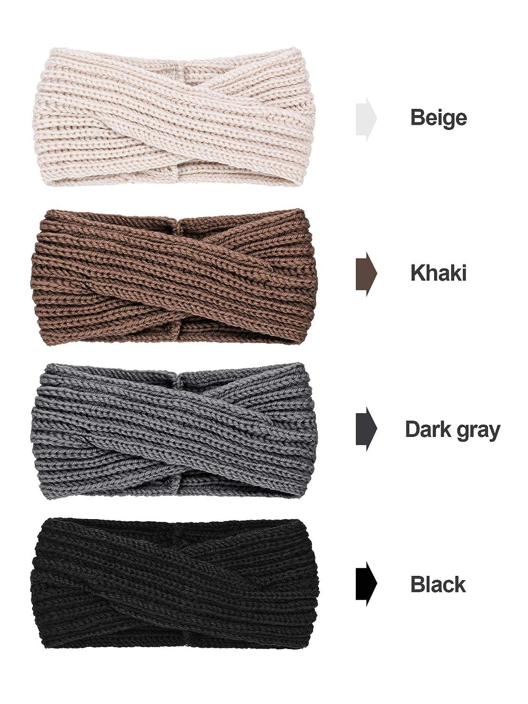 4 Pieces Winter Chunky Knit Headbands Braided Knitted Head Band Ear Warmer Crochet Head Wraps for Women Girls (Black, Khaki, Grey, Beige)