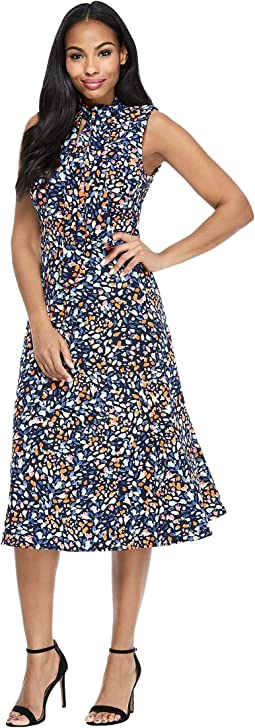 Bow Neck Fit-and-Flare Confetti Print Dress