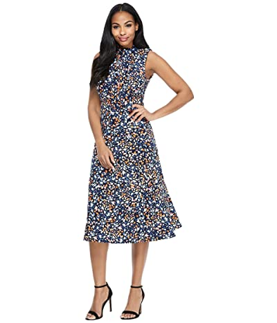 Maggy London Bow Neck Fit-and-Flare Confetti Print Dress (Navy/Orange 2) Women