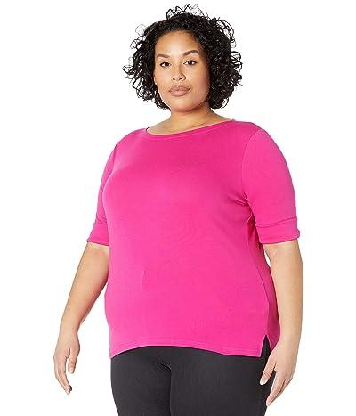 LAUREN Ralph Lauren Plus Size Stretch Cotton Boat Neck Tee (Nouveau Bright Pink) Women