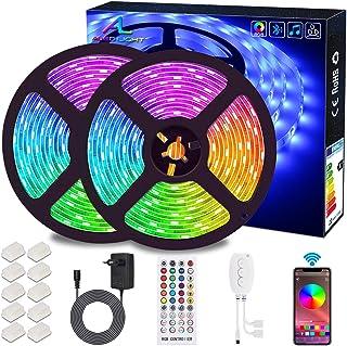 Ruban LED Bluetooth, ALED LIGHT Bande LED Étanche 2x5M(10M) 5050 RGB 300 LEDs, Contrôlé par APP du Smartphone Android et I...