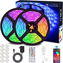 Bluetooth LED-strips, ALED LIGHT 10M (2x5m) 32,8Ft waterdichte IP65 RGB 5050300 (2x150) LED-strips met slimme Bluetooth-co...