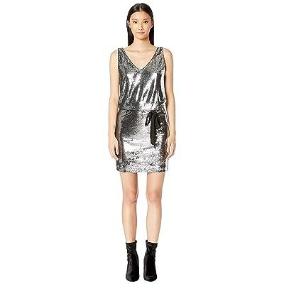 Nicole Miller Mermaid Sequin V-Neck Dress (Silver Multi) Women