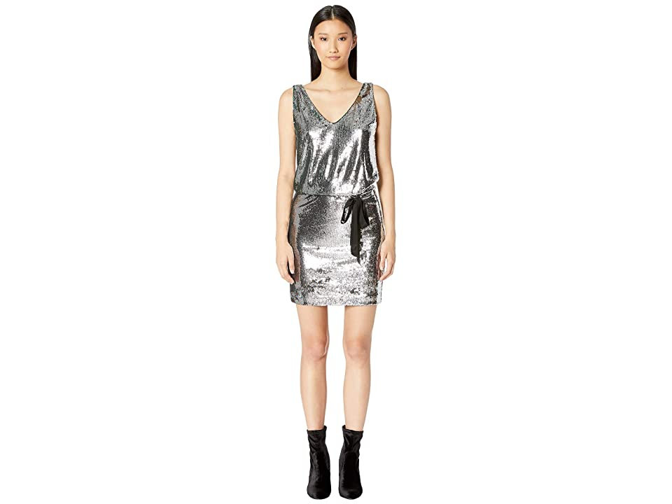 Nicole Miller Mermaid Sequin V-Neck Dress (Silver Multi) Women
