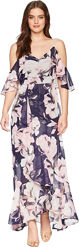 Printed Chiffon Cold Shoulder Maxi Dress with Ruffled Skirt