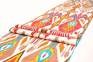 UZBEK HANDCRAFTED WOVEN SILK-COTTON IKAT ADRAS FABRIC By The Meter 1,09 Yard (Multicoloured3)