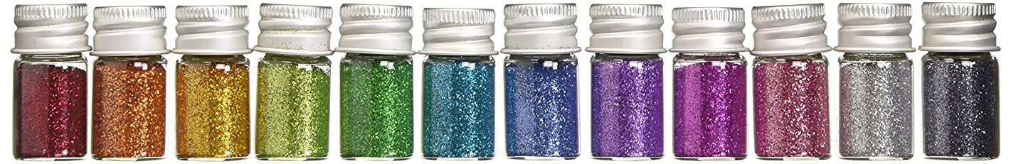 DOODLEBUG Metallic Sugar Coating Glitter Bottles, 5gm, Assortment, 12-Pack