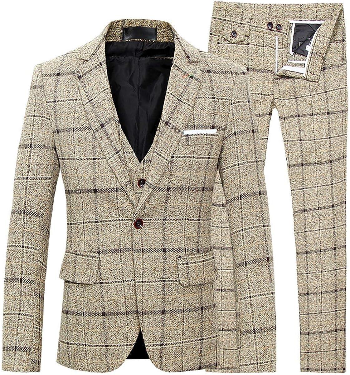 Men's 3-Piece Dress Suit Plaid Slim Fit One Button Single-Breasted Wedding Blazer