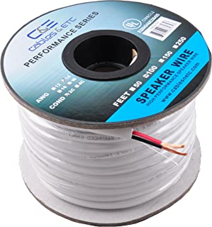 14AWG Speaker Wire CL2 In Wall Rated Oxygen Free Bare Copper 100 Feet (30.48 Meters) 99.9% Oxygen Free Copper (OFC) 2 Conductor Loud Speaker Wire Cable 100ft (30.48M)
