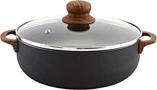 IMUSA USA CHI-00056 Caldero with Glass Lid and Woodlook Handles/Knob, 9-Quart, Black Stone, Wood look