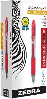 Zebra 46830 Sarasa Retractable Gel Ink Pens, Medium Point 0.7mm, Red, Rapid Dry Ink, 12-Count