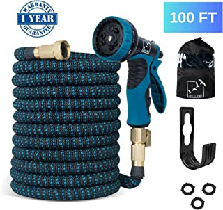Life Be Free 100 Ft Expandable Garden Hose, Upgraded Extra Strength No-Kink, Lightweight Durable Flexible Expanding Water Hose Pipe, 9 Function Spray Nozzle, 3/4 Solid Brass Connectors, Holder, Bag