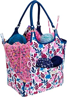 Everything Mary Deluxe Yarn Carry Project Caddy Organizer Storage Tote, Floral