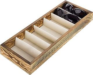 Modern Brown Wood 7 Compartment Eyewear Storage Organizer Box/Open Top Sunglasses Display Case
