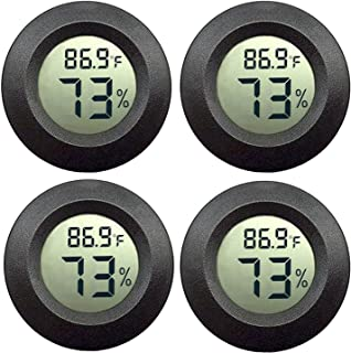 JEDEW 4-Pack Mini Hygrometer Thermometer Digital LCD Monitor Indoor Outdoor Humidity Meter Gauge for Humidifiers Dehumidif...