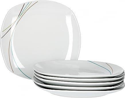 Preisvergleich für Van Well Aliha 6er Set Speiseteller, Ø 25 cm, Liniendekor, Menüteller, Essteller, edles Marken-Porzellan