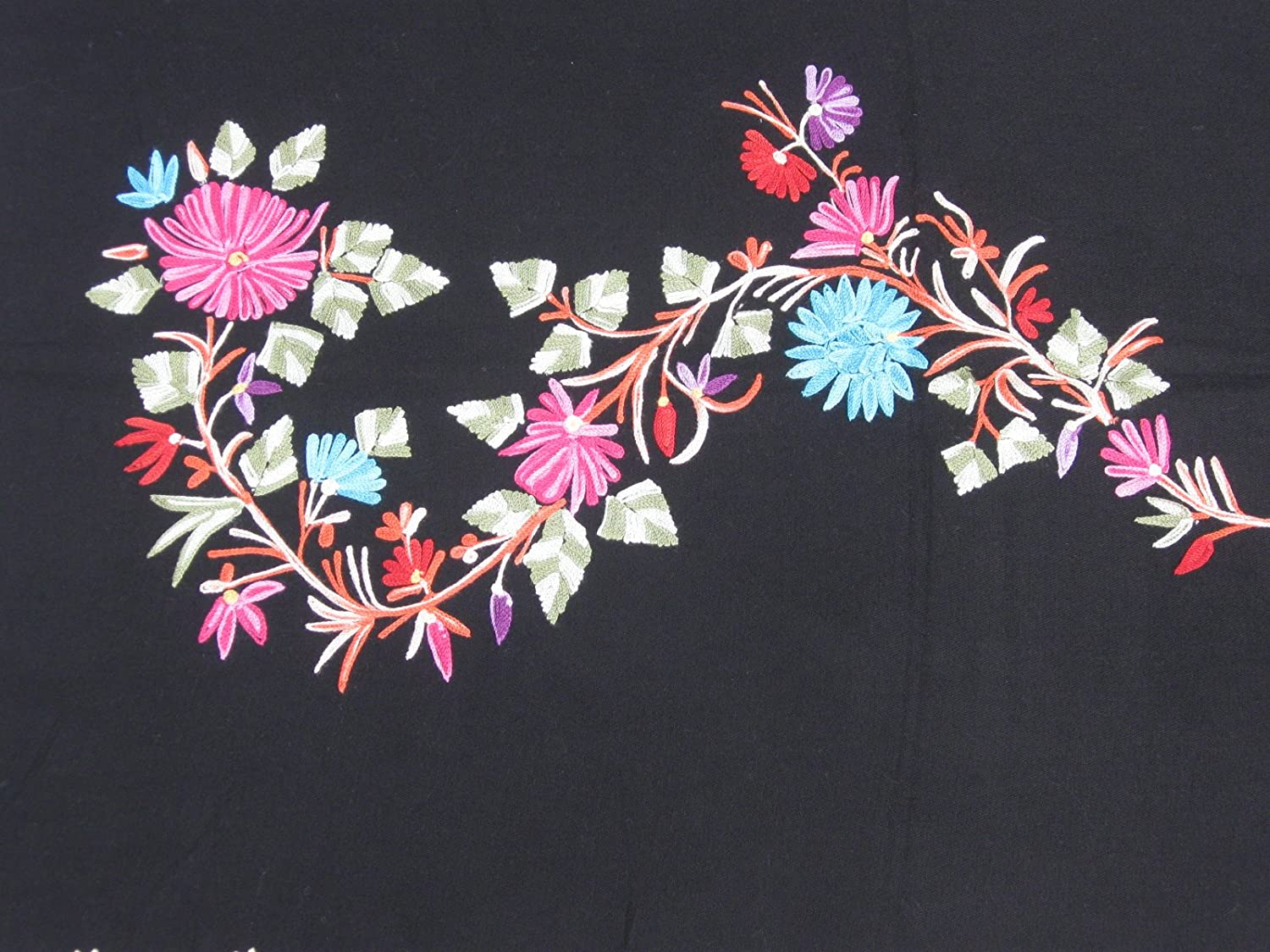 Scarf- Cashmere Pashmina WRAP with All Over Crewel Embroidery Black