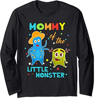 Mommy Of The Little Monster Birthday Shirts Long Sleeve T-Shirt