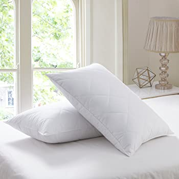 """L LOVSOUL Set of 2 Goose Feather Pillows King Size -1000 Thread Count Cotton Cover,20""""x36"""" (Set of 2-King),Medium Firm Feather Pillow,Twin Pack"""