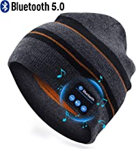 RQN Bluetooth Hat Wireless Music Soft Hat Warm Beanie with Stereo Headphone Speaker Wireless Mic Hands-Free Suits for Men Women Fitness Winter Outdoor Sports Christmas Birthday Gift (Strips)