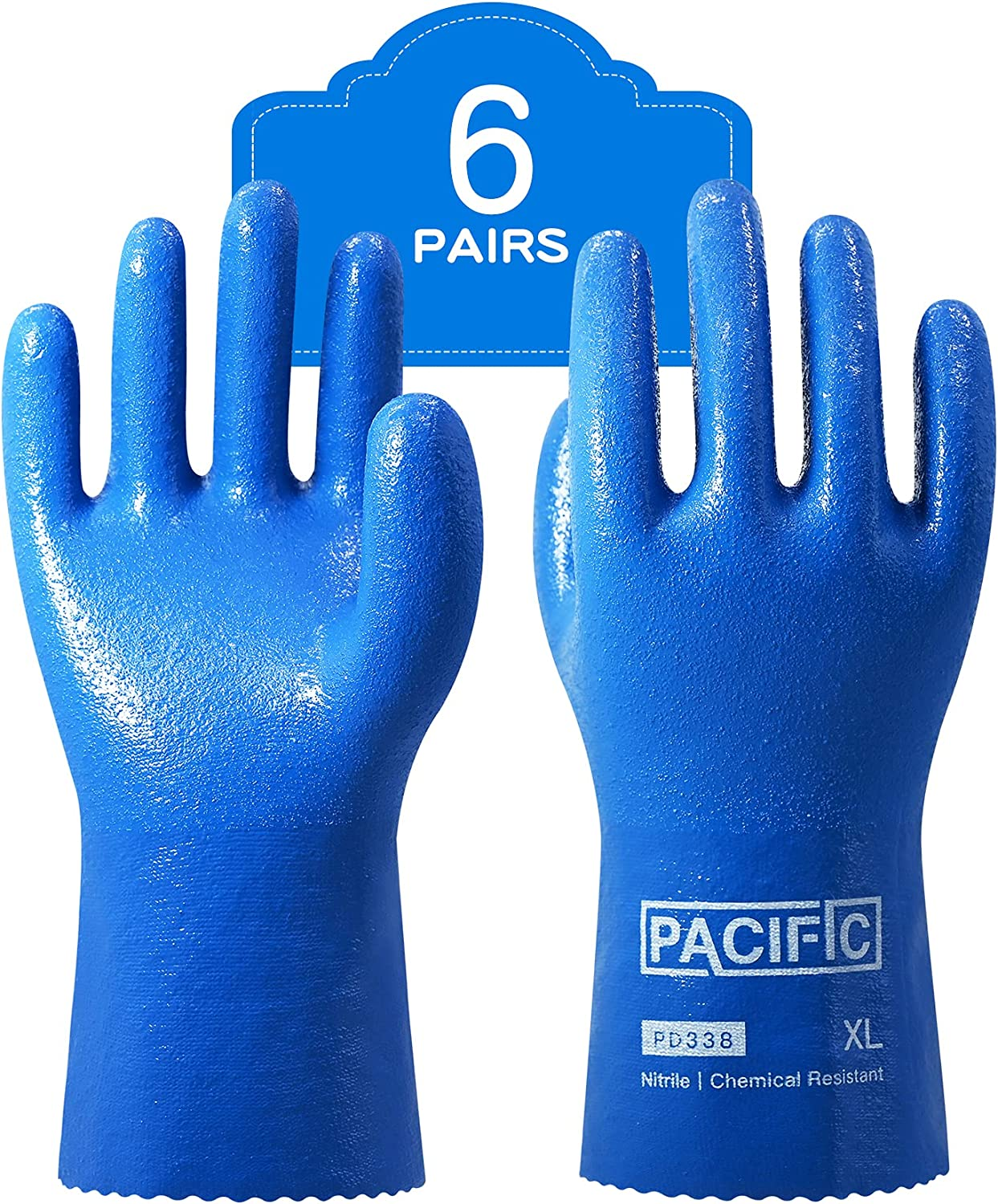 PACIFIC PPE 6 Pairs Japan Maker New Nitrile Heav Resistant 100% quality warranty Chemical Gloves Work