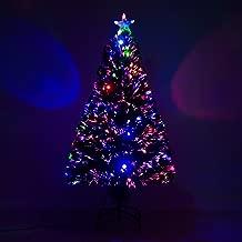 Sapin de Noël Artificiel Lumineux Fibre Optique LED Multicolore + Support Pied Ø 60 x 120H cm 130 Branches étoile Sommet Brillante Vert