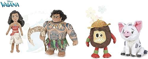 Vaiana (Moana)- Pack 4 plüsch Vaiana 26cm (mädchen) + Maui 26cm (Junge) + Pua 24cm (SchWeiß Vania Maskottchen) + Kakamora 26cm (Piraten-Kokosnuss) - Qualität super soft - pack4modT3
