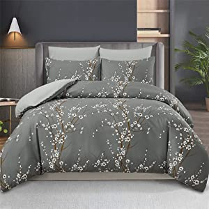 WURUIBO Branches Duvet Cover King Size, 3 Piece Grey Floral Duvet Cover Set, Soft Premium Microfiber Duvet Covers for All Seasons, 1 Duvet Cover and 2 Pillow Cases(Grey,King)