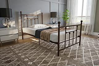 DHP Manila Metal Bed with Victorian Style Headboard and Footboard, Includes Metal Slats, Twin Size, Bronze