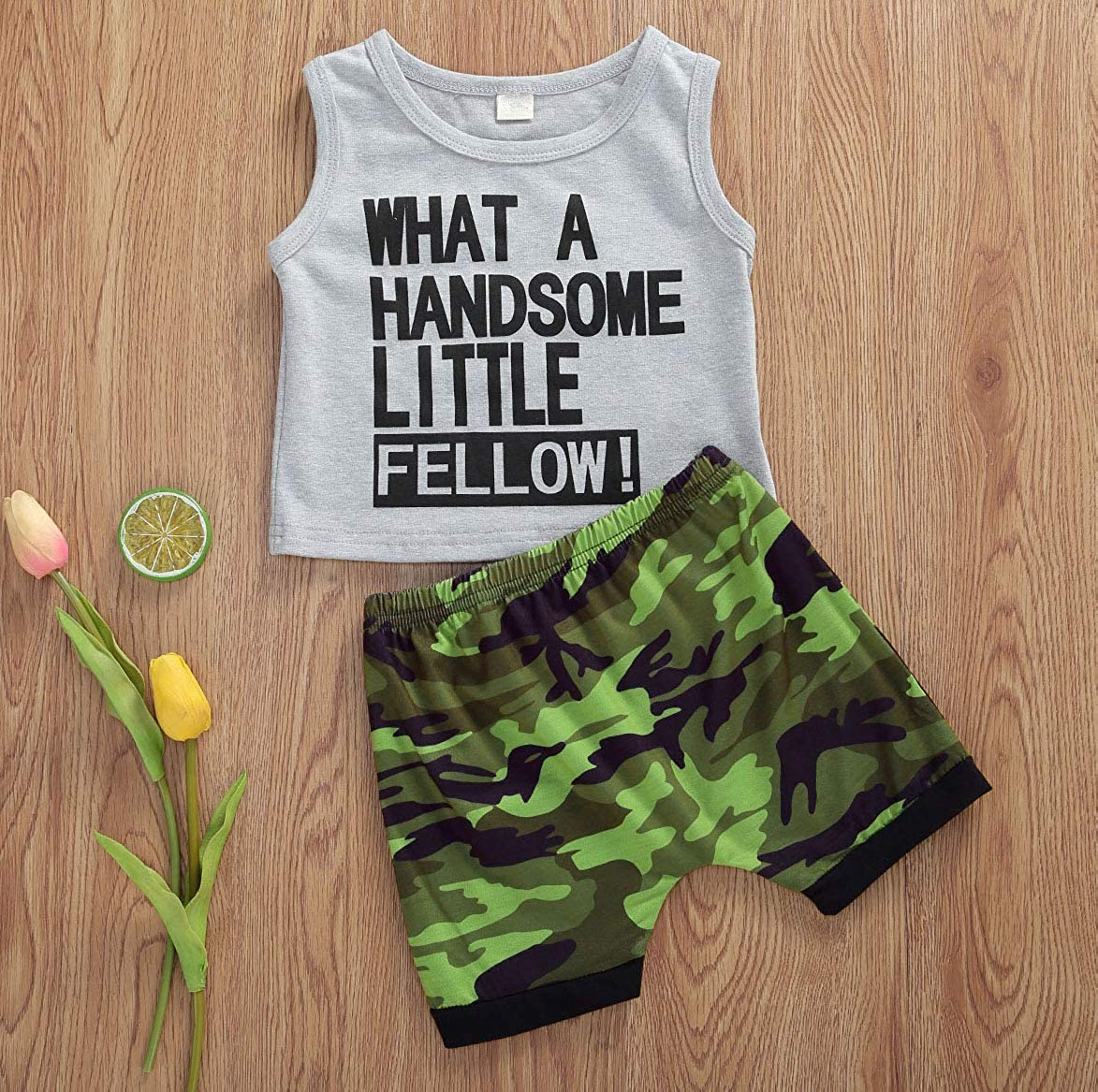 Infant Toddler Boys Short Sleeve T Shirt Tops Camo Shorts Summer Outfit Set