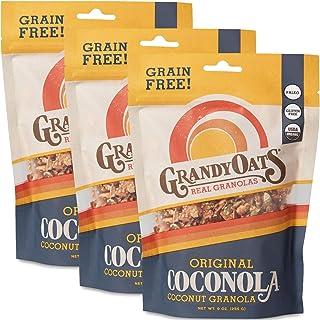 GrandyOats Original Coconola Gluten Free Granola - Certified Organic, Non-GMO, Grain Free, Paleo Friendly, Low Carb and Low Sugar, 9oz Bags, Bulk Pack of 3